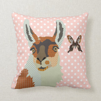 Llama & Golden Butterfly Pink Pokadot  Mojo Pillow Cushion
