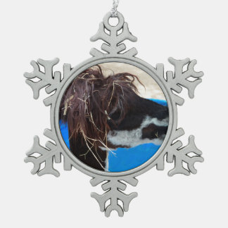 llama hair unkept blue pool farm animal pewter snowflake decoration