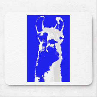 llama head in marine blue mouse mat