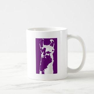llama head in purple coffee mug