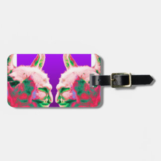 Llama Heads in a Bright Contemporary Graphic Luggage Tag