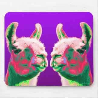 Llama Heads in a Bright Contemporary Graphic Mouse Mat