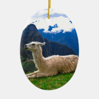 LLama in Machu Picchu Christmas Ornament