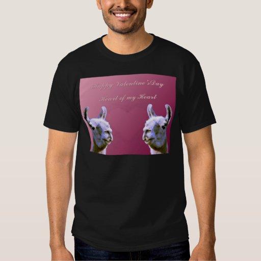 Llama love valentine day heart doube llama tshirt