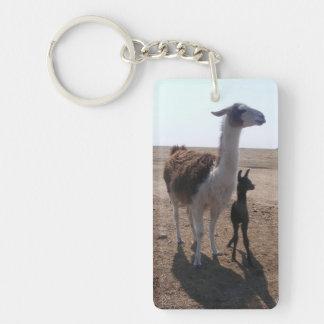 Llama Mama & Cria Single-Sided Rectangular Acrylic Keychain