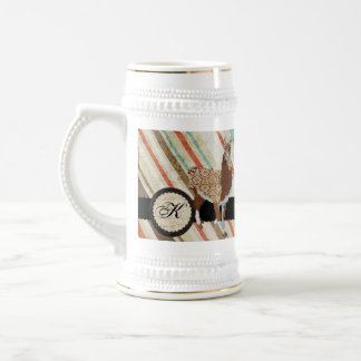 Llama Monogram Vintage Stripes  Stein Mugs