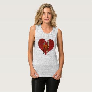 LLAMA & OWL HEART Art Flowy Muscle Tank Top