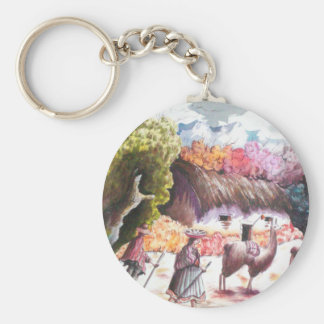 Llama Picture Peru village Key Ring