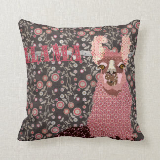 Llama Pink & Brown Vintage Floral Mojo Pillo Cushion