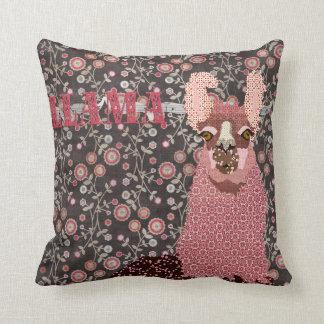 Llama Pink & Brown Vintage Floral Mojo Pillo Throw Cushion