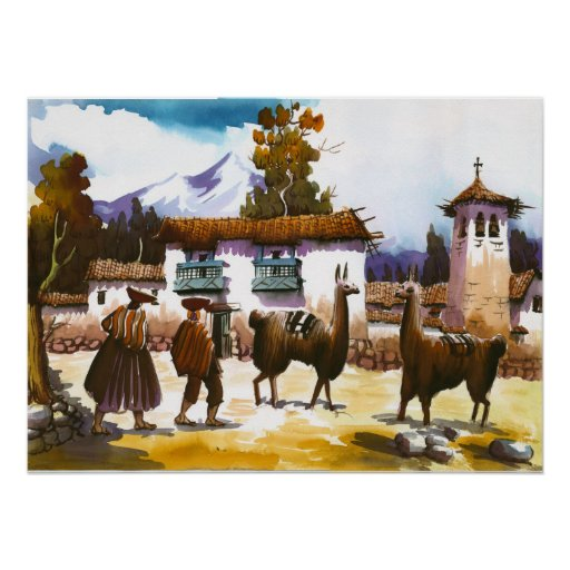 Llama Poster Peruvian People with