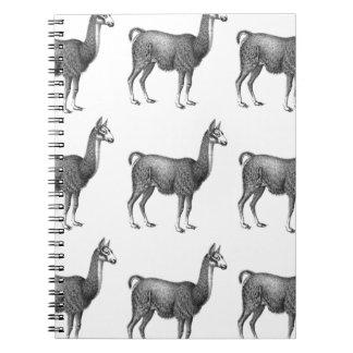 llama rows spiral notebook
