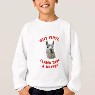 Llama selfie pun sweatshirt