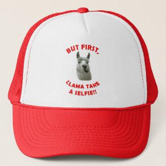 Llama selfie pun trucker hat