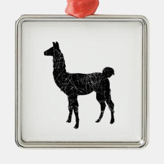 Llama Silver-Colored Square Decoration