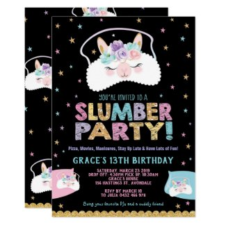 Llama Slumber Party Birthday Invitation Sleepover