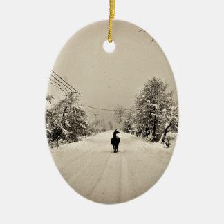 llama winter christmas ornament