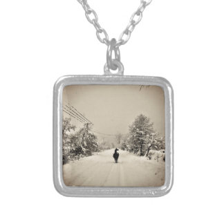 llama winter silver plated necklace
