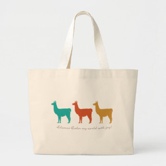 Llamas Color My World with Joy Large Tote Bag