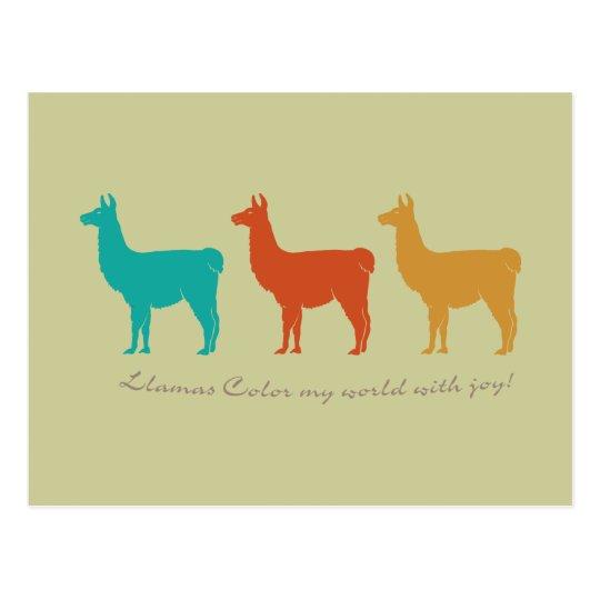 Llamas Colour My World with Joy Postcard