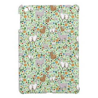 Llamas in Green Cover For The iPad Mini