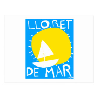 Lloret de Mar summer sun and sailboat. Postcard