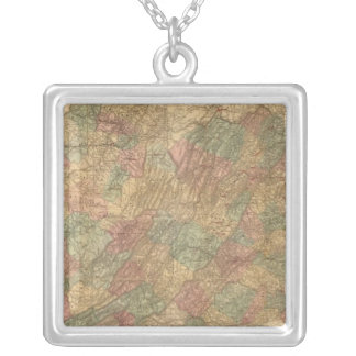 Lloyd's official map of the State of Virginia Silver Plated Necklace