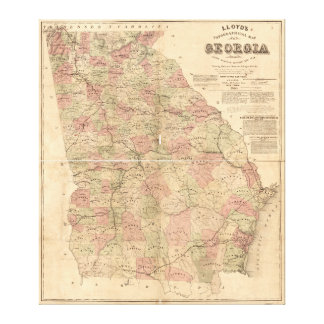 Lloyd's Topographical Map of Georgia (1864) Canvas Print