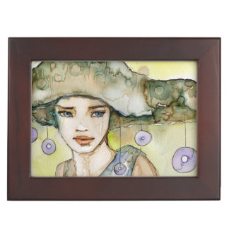 llustration of a beautiful, delicate  girl keepsake boxes
