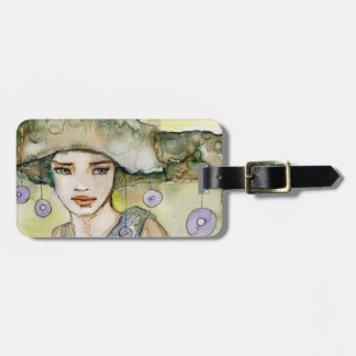 llustration of a beautiful, delicate  girl luggage tag