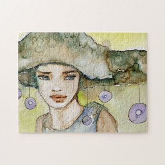 llustration of a beautiful, delicate  girl puzzle