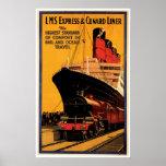 LMS Express & Cunard Liner Vintage Ship Ad