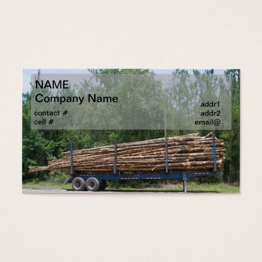loaded pulpwood trailer business card
