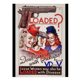 """""""Loaded with VD"""" WWII STI  Poster Warning Soldiers Postcard"""