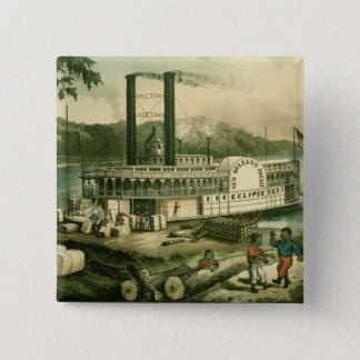 Loading Cotton on the Mississippi, 1870 15 Cm Square Badge