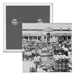 Loading Fruit at Covent Garden Market, 1900 15 Cm Square Badge