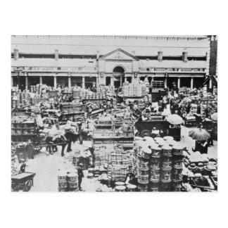 Loading Fruit at Covent Garden Market, 1900 Postcard