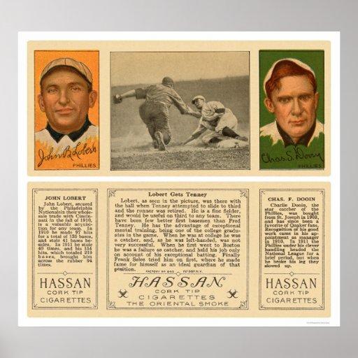 Lobert & Tenney Phillies Baseball 1912 Print
