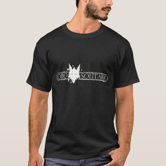 Lobo Solitario, lone wolfe wkite on dark tee