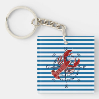 Lobster and Crab Blue and White Stripe Double-Sided Square Acrylic Key Ring