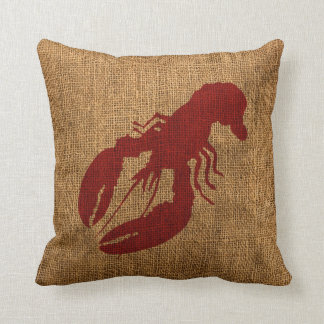 Lobster and Crab in Nautical Rustic Red Cushion
