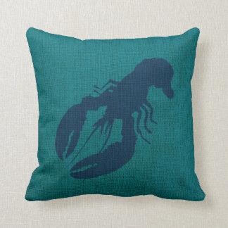 Lobster and Crab in Ocean Green Blue Throw Pillow