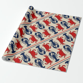 Lobster and Crab Pattern Gift Wrap