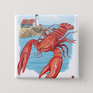 Lobster and Portland Lighthouse Scene 15 Cm Square Badge