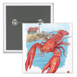 Lobster and Portland Lighthouse Scene Buttons
