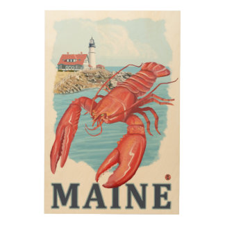 Lobster and Portland Lighthouse Scene Wood Wall Decor