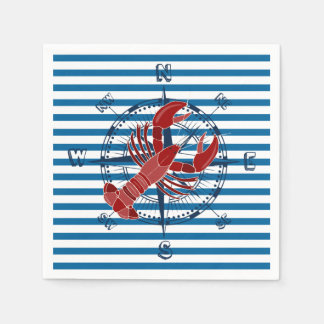 Lobster Blue and White Horizontal Stripe Disposable Serviette