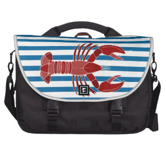 Lobster Blue and White Horizontal Stripe Bags For Laptop
