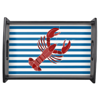 Lobster Blue and White Horizontal Stripe Serving Tray