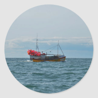 Lobster Boat Amanda Jane Round Sticker
